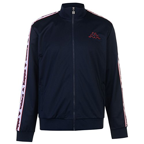 Kappa Mens Tri Tape Jacket Tracksuit Top Coat Long Sleeve Regular Fit Navy Medium by Kappa