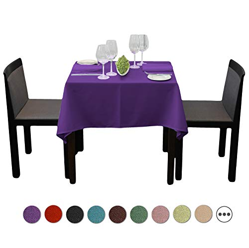 (SilkFun Square Tablecloth 54 x 54 inch - Solid Polyester Table Cover for Wedding Restaurant Party Banquet, Purple Table Cloth)