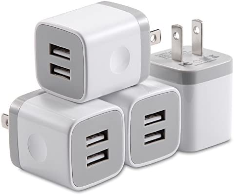 X-EDITION USB Wall Charger,4-Pack 2.1A Dual Port USB Cube Power Adapter Wall Charger Plug Charging Block Cube for Phone 8/7/6 Plus/X, Pad, Samsung Galaxy S5 S6 S7 Edge,LG, Android (White)