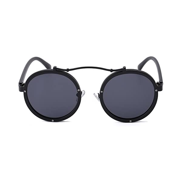Round Retro Unisex Sunglasses Polarized Driving Mirrored Lens Steampunk Style UV Protection 5