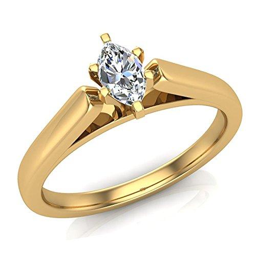 Marquise Diamond Ring Settings (1/4 ct tw I I1 Marquise Diamond Cathedral Setting Engagement Ring 14K Yellow Gold (Ring Size 8))