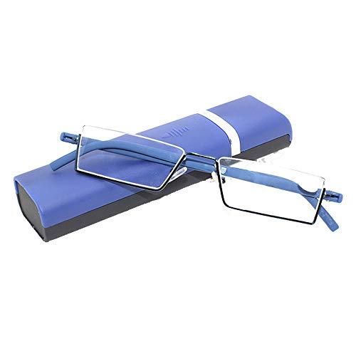 AMhuui Elderly Reading Glasses with Half Frame and Hard Protector Case for Men,Women,Blue,+250