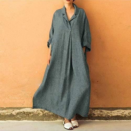 Maxi Dres nbsp; A Dress E Cotone Women Manica Casual Bohemian nbsp; V nbsp;dress lunghezza Dress Yreopw Con Ankle In Scollo C Lunga Lino vwq1atx