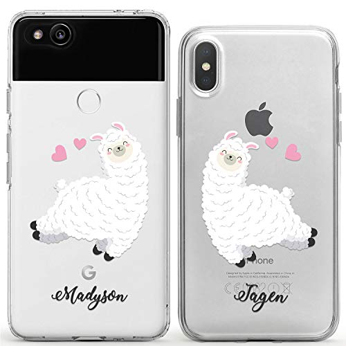 Wonder Wild Funny Llamas Couple Case iPhone Xs Max X Xr 10 8 Plus 7 6s 6 SE 5s 5 TPU Clear Gift Apple Phone Cover Print Protective Double Pack Silicone Cute Animals Print Your Name Pair Accessories