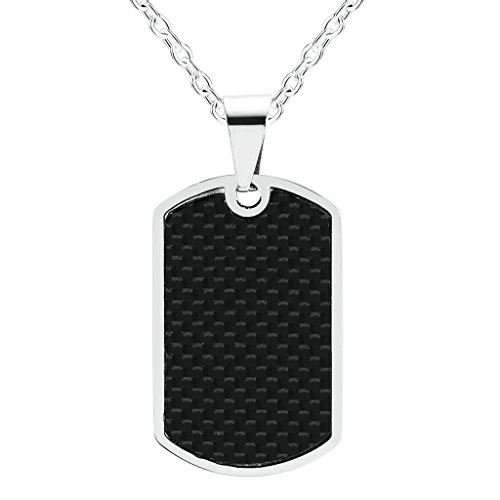 - ANAZOZ Jewelry Stainless Steel Square Dog Tag with Carbon Fiber Pendant Necklace for Men, 23