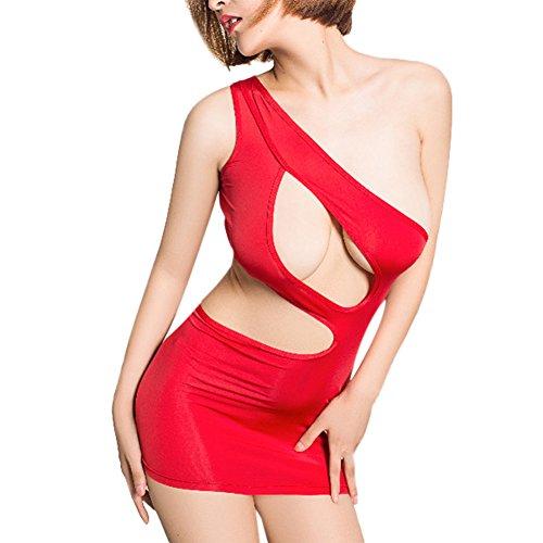 IWEMEK Womens Sexy Lingerie Cut Out Sleeveless Stretch Mesh Bandage Bodycon Cocktail Party Clubwear Mini Tube Dress Chemise