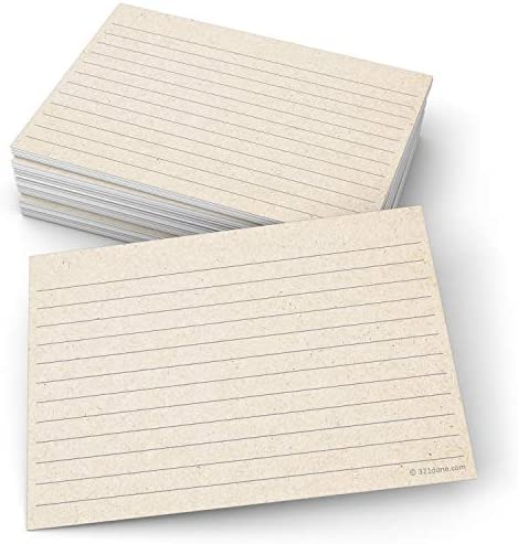 321Done Rustic Ruled Index Cards - Made in USA - Large 4x6 (Set of 50), Kraft Tan, College-Ruled Lined Notecards Double-Sided, Thick Heavy Duty Cardstock, Simple Cute Pretty Note Cards with Lines