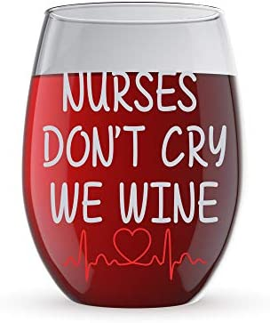 Nurses Funny Crystal Stemless Glass product image