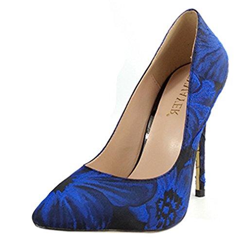 ENMAYER Damen Funkeln Material Schuhe Dünne High Heels Winter-Stiefeletten Party & Hochzeit Spitzschuh Stiefel Blau