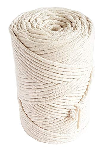 Natural Macrame Cord 3mm Cotton Cord 140m Single Strand Cotton Rope for DIY Projects 459 feet macrame - Mb Single