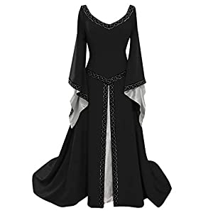 Aiserkly Carnival Gothic Dress Women's Long Sleeve V-Neck Medieval Dress Floor Length Renaissance Cosplay Dress Long Evening Dress Festive Dress Party Dress Maxi Dress