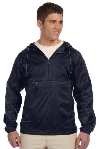 Harriton Men's Nylon Packable Pullover Hooded Jacket, NAVY, XXXX-Large - Hooded Nylon Windbreaker