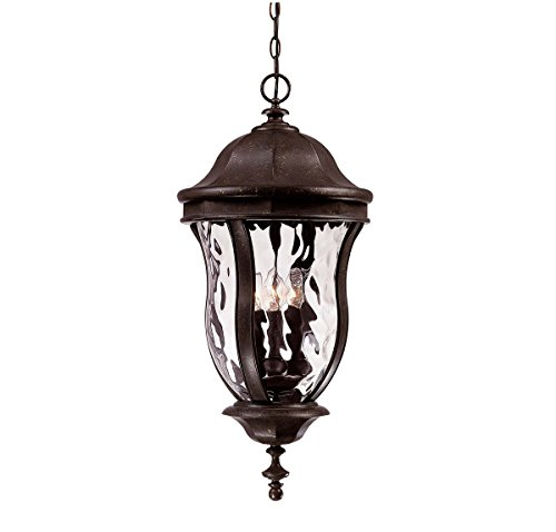 Savoy House Lighting KP-5-306-40 Monticello Collection 4-Light Outdoor Hanging Entry Lantern, Walnut Patina Finish with Clear Watered Glass