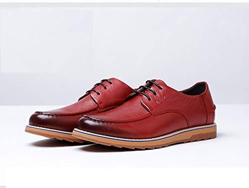 Cordones Zapatos Zapatos Ruanyi de de otoño Hombres Marca de de Ocasionales de Brown Size Red Alta Invierno 42 Color la EU Cuero e con para Gama Zapatos Cuero aa5O0rPn