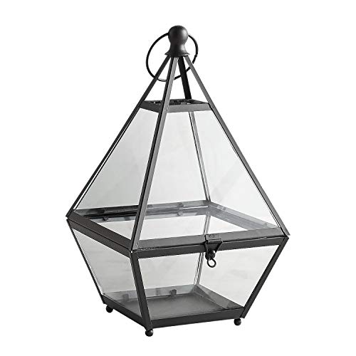 Pier 1 Imports Eldridge Black Pyramid Metal Terrarium Decorative Lantern Candle Holder
