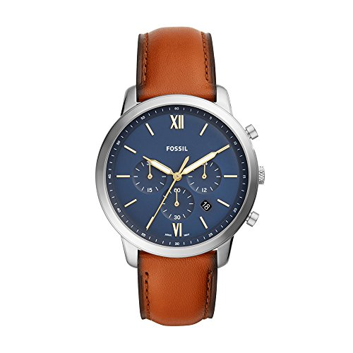 Fossil Men's 'Neutra Chrono' Quartz Stainless Steel and Leather Casual Watch, Color:Brown (Model: FS5453)