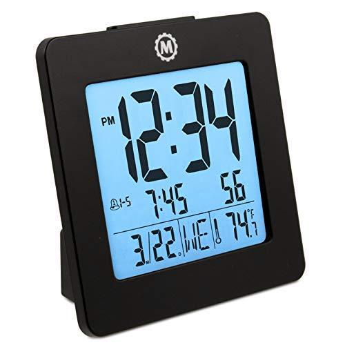 Marathon CL030050BK Digital Alarm Clock with Day, Date, Temp