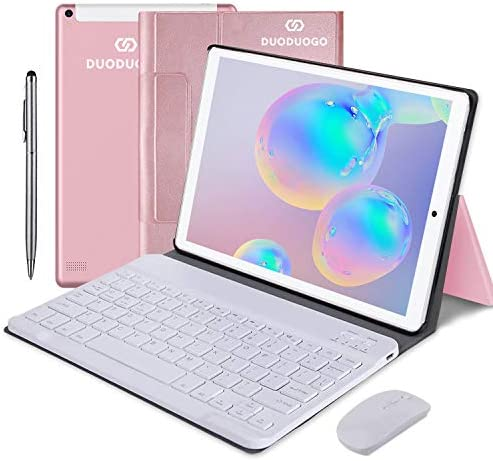 "Tablet 10.1"" 2 in 1 IPS HD Touch Tablet Android Tablet 9.0 with Wireless Keyboard Case,1080P Display Dual SIM, WiFi Quad-Core 4GB RAM 64GB Storage, Dual Camera -(Pink)"