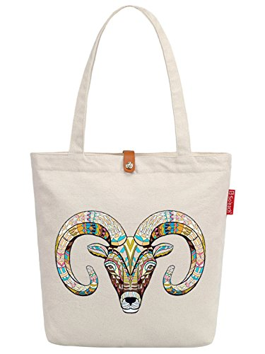 So'each Women's Goat Geometry Graphic Top Handle Canvas Tote Shoulder Bag