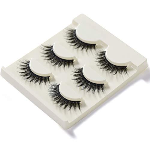 Eyelashes Dance, 3D False Eyelashes Hand-made Luxury Fashion Fake Lashes Black Nature Fluffy Long Soft Reusable, 6 Pair 2 Styles, With Free EyeLash Tweezers (02&36)