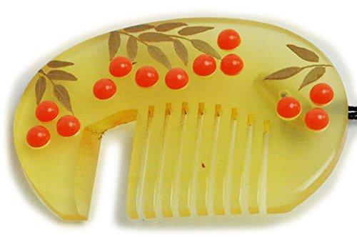 パン屋仕立て屋うるさい帯留 透明黄金色 かんざしの形に南天 おしゃれな帯留め