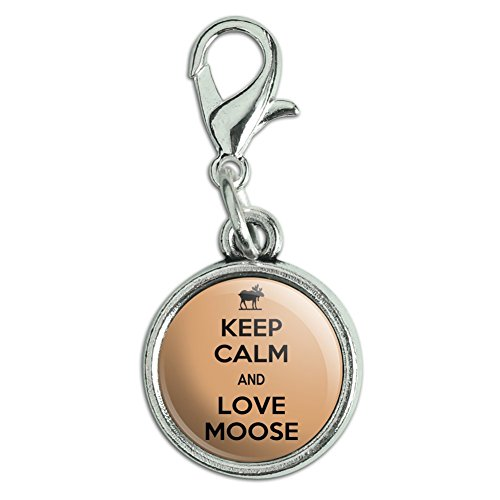 Antiqued Bracelet Pendant Zipper Pull Charm with Lobster Clasp Keep Calm and H-O - Love Moose - Keep Calm and