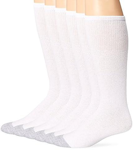 Fruit of the Loom Men's 6 Pack Cushion Over the Calf Tube Socks, White, Sock Size:10-13/Shoe Size: - Over Calf Support