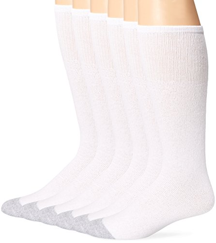 (Fruit of the Loom Men's 6 Pack Cushion Over the Calf Tube Socks,  White, Sock Size:10-13/Shoe Size: 6-12)