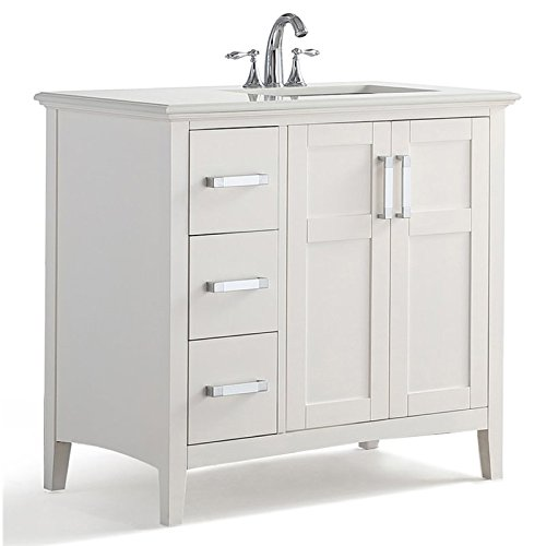 "Simpli Home WINSTON-WH36-R Winston Quartz Marble Top 36"" Right Offset Bath Vanity, 36 inch, Soft White"