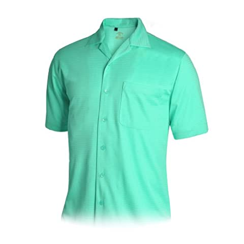 Monterey Club Mens Dry Swing Stripe Combo Texture Camp Shirt #1555 (Turquoise, Large) - Signature Camp Shirts