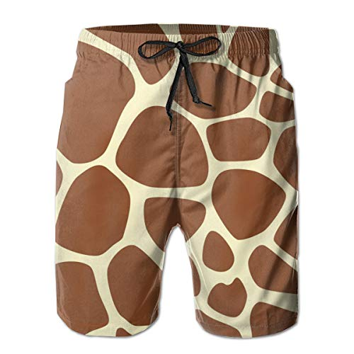Giraffe Print Pattern Men's Shorts Casual Classic Fit Drawstring Summer Beach Shorts with Elastic Waist and Pockets