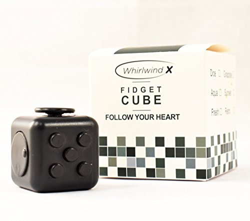 Whirlwind X Stress Relief Fidget Cube, Gray Black and Black, Set of 2 - 4