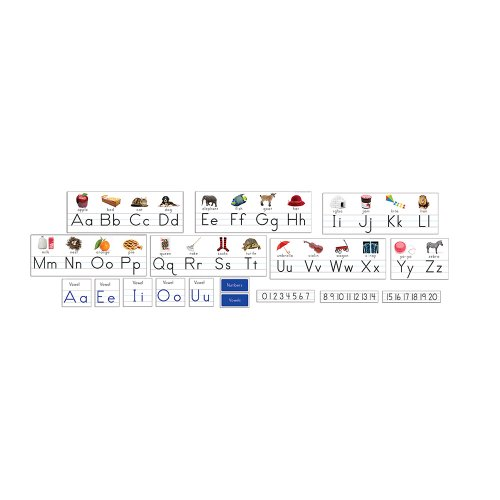 - Eureka Classroom Supplies Alphabet Border with Pictures, Vowels, and Number Line