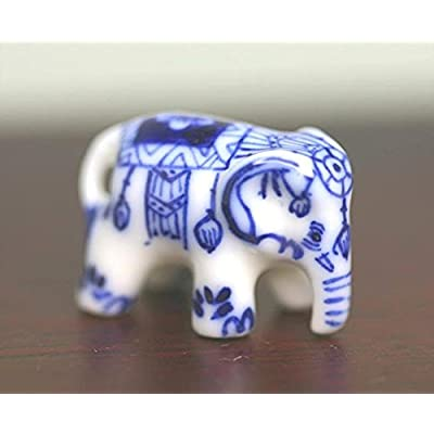 Dollhouse Miniature Blue and White Porcelain Elephant: Toys & Games