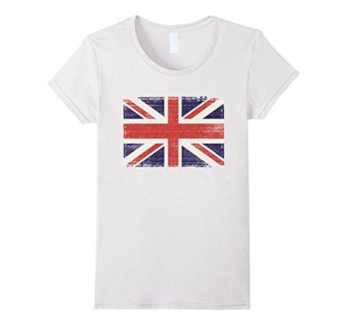 Womens Union Jack T-shirt Vintage UK Flag Tee British Retro Flag Medium White