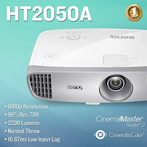BenQ HT2050A 1080P Home Theater Projector   2200 Lumens   96% Rec 709 for  Accurate Colors   Low Input Lag Ideal for Gaming   2D Keystone for Flexible