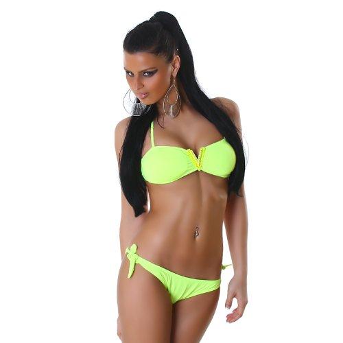 P.F. Bikini Set con V de auschnitt y brillantes Neck Holder Bandeau Neon-Gelb