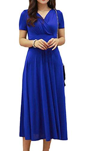 Formato Vestito Corta In Delle Colore Impero Grande Con Manica Vita Oscillare Donne Cromoncent A Del V Zaffiro Solido Blu Scollo Midi T1wZgd