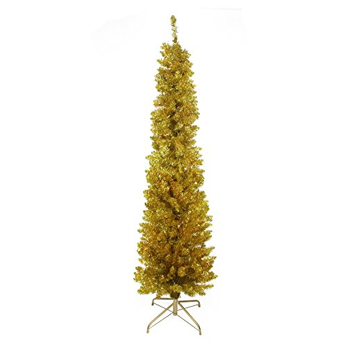 (Northlight Pre-Lit Gold Artificial Tinsel Pencil Christmas Tree with Clear Lights, 6' x 20