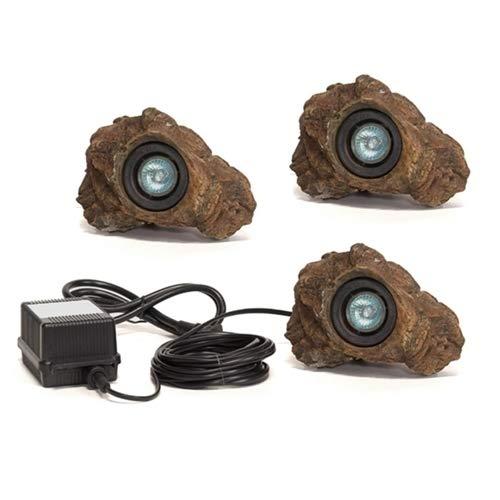 3 - Rock Led Light Set with Transformer for Garden and Ponds