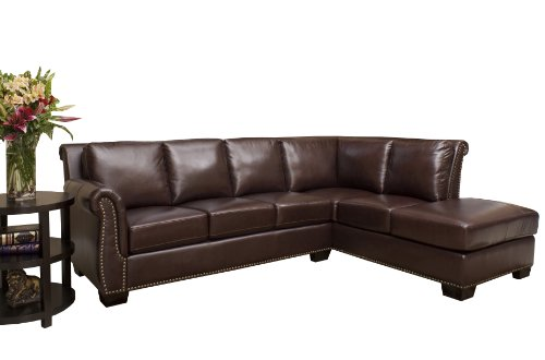 Abbyson Living Pasadena Italian Leather Sectional Sofa