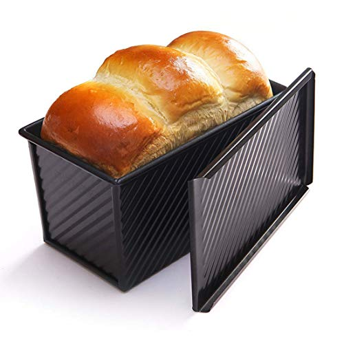 (CAN_Deal Loaf Pan With Cover/Bread Baking Mould Cake Toast/Non-Stick Toast Box with Lid For 450g Dough, Vented Hole for Rapid Baking, Made from Heavy-gauge Carbon Steel (Wavy Style))