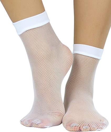 ToBeInStyle Women's Versatile Fishnet Anklet Socks - White - OS (Thigh High Rhinestone Anklet)