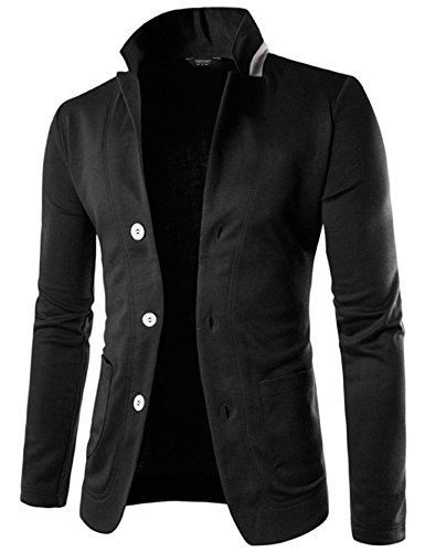 Coofandy Mens Casual Slim Fit Blazer 3 Button Suit Sport Coat Lightweight Jacket, Black, (Shirt Jacket Blazer)