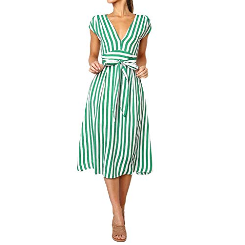 (Gyouanime Womens Strip Dress Princess Dress Off Shoulder Sleeveless Dress Outwear Skirts with Belt Green)