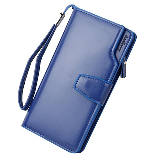 Large Capacity Leather Clutch Wallet for Women Multi Card Holder Organizer with Zipper Phone Pocket Long Purse with Hand Strap (Navy Blue) Aluminum Frame Multi Stripes
