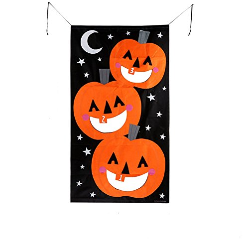JHYQ-US Game with 3pcs Bean bags party games for kids Pumpkin banner Halloween Decorations or Treat Banner Family Friendly Party 30 x 54 inches