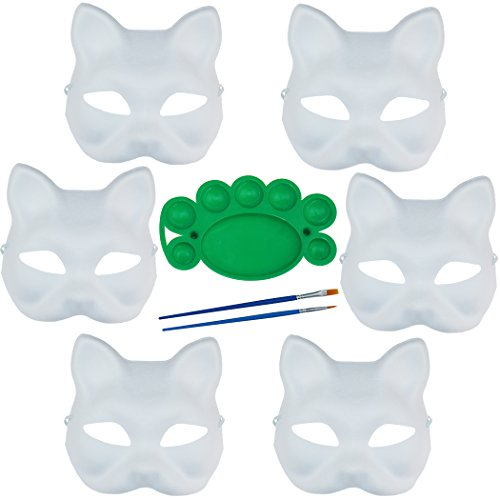 6 Pack Set DIY Full Face Handmade Mask Pure White Hard Paper Mask with Two Brushes and One Pigment Plate (Cat)