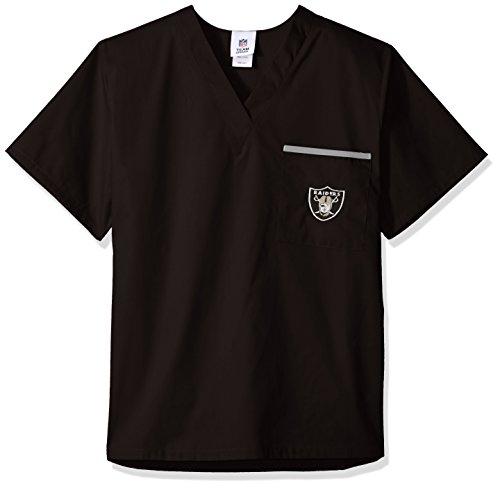 NFL Scrub Dudz Solid Scrub Top, Oakland Raiders, Black