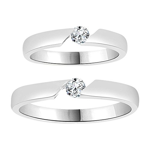 14k Gold White Rhodium, Couple Duo His and Her Set Band Rings Synthetic CZ Crystals by GiveMeGold